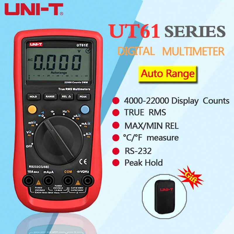 UNI-T UT61A UT61B UT61C UT61D UT61E Numérique Multimètre rms vrai Gamme Automatique AC DC Prise de Données Multimètre + Cadeau