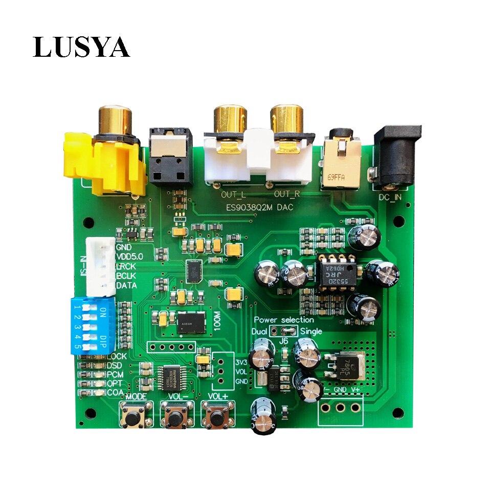 Lusya ES9038Q2M I2S IIS DSD DOP Coaxial Fiber SPDIF Digital Audio DAC Decoder Board support 32bit 384k/DSD64 DSD128 DSD256 brand new gustard u12 xmos usb dac digital audio interface aes ebu coaxial hdmi 0 1ppm support 32bit 384khz dsd64 dsd128