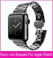 Tres punteros modelo Slimfit acero negro enlace pulsera correas de reloj para Apple reloj 42 mm 38 mm con gran doble mariposa