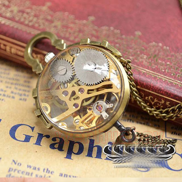 2017 New Arrival Lovely Transparent Roman Numerals Eyeball Mechanical Pocket Watch Pendant Necklace Chain Men Women Gifts
