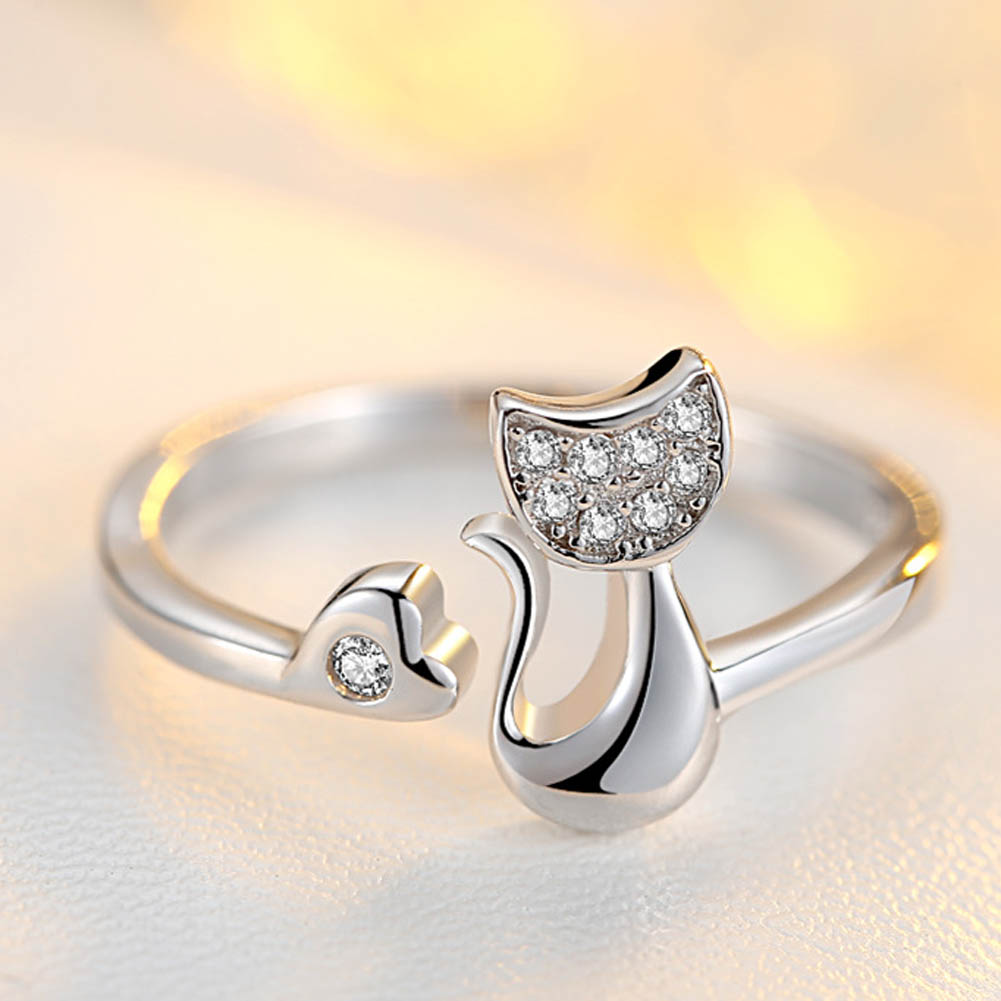 Delicate Silver color Tone Lovely Cat Shape Clear Crystal Inlaid Women Girl Opening Ring Party Jewelry