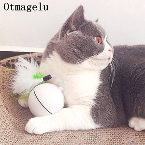 Image 4 - Funny Pet Dog Cat Toys Chargable LED Scrolling Glowing Balls with Feather Bell Sound Silicone Balls Agile training Catch Cat Toy
