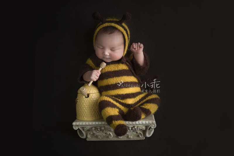 Newborn bee mohair bodysuit set,baby cartoon soft romper with hat full set,baby photography jumpsuits props 2pcs set newborn floral baby girl clothes 2017 summer sleeveless cotton ruffles romper baby bodysuit headband outfits sunsuit