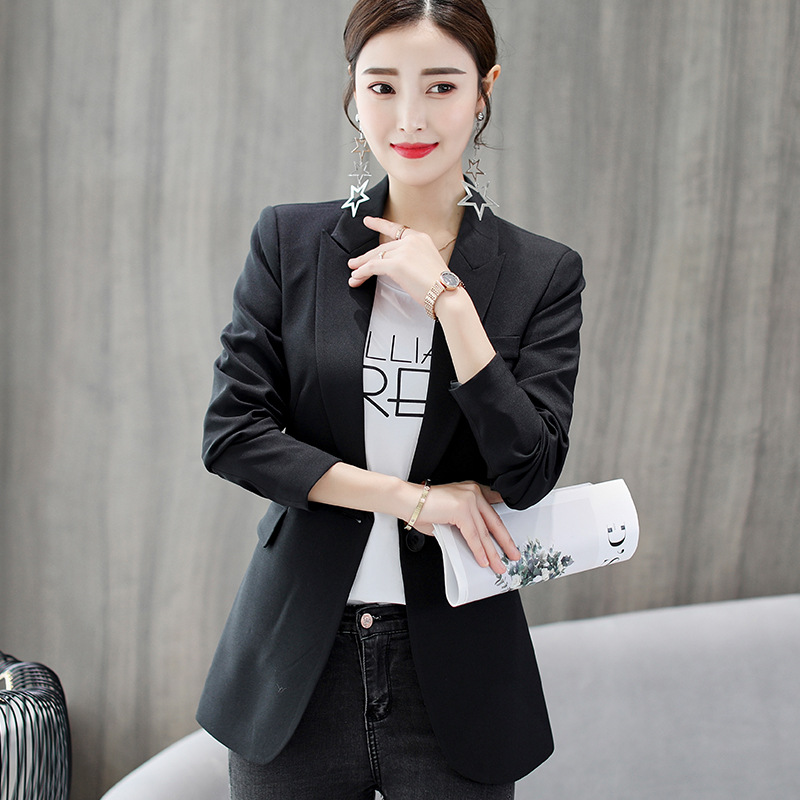 Formal Office Lady Blazers Women Black Blue Slim Fit Long Sleeve Suit Casual Autumn Winter Coats Fashion Work Suits Woman Tops