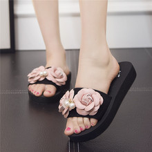 2017 New 100% Handmade Flower Women Shoes Flats Outside Beach Womens Slippers 4 Colors Slides