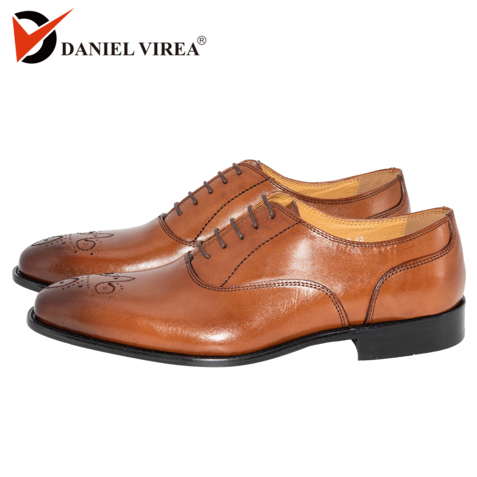 Men Dress Wedding Brogue Shoes Classic Brown Color Luxury Brand Office Formal Pointed Toe Solid Oxford Genuine Leather Mens Shoe