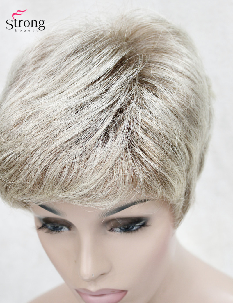 Image 5 - StrongBeauty Short Shaggy Layered Blonde Ombre Classic Cap full Synthetic Wig Women's Wigs-in Synthetic None-Lace  Wigs from Hair Extensions & Wigs