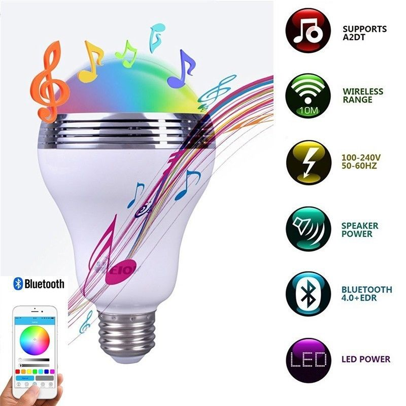 RAYWAY Smart LED Bulb Bluetooth Speaker LED RGB Light 10W E27 Base Wireless Music Player with APP Remote Control. intelligent e27 10w rgb led bulb smart