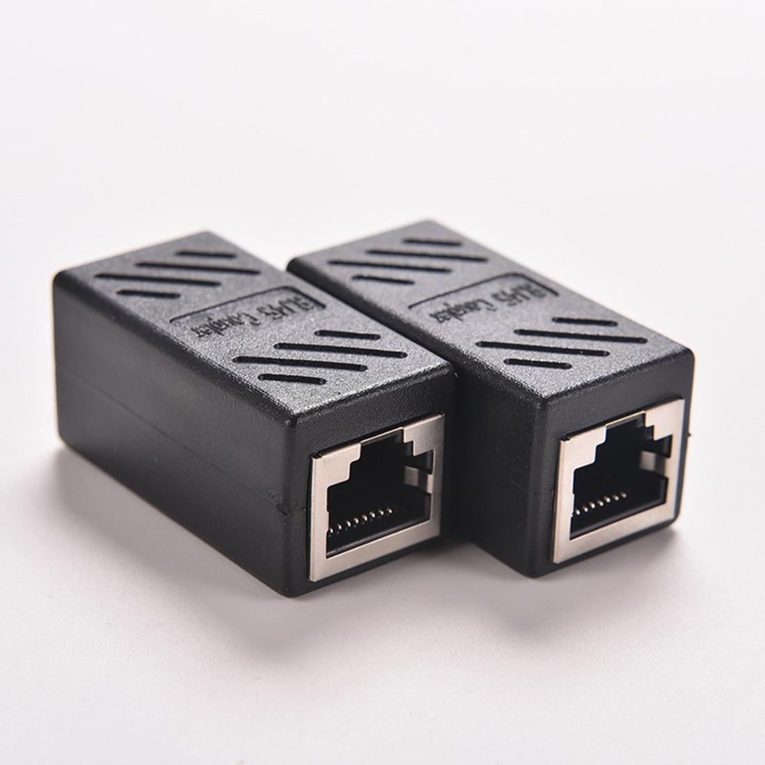 Good 1PC Black Female to Female Network LAN Connector Adapter Coupler Extender RJ45 Good Quality rj45 coupler