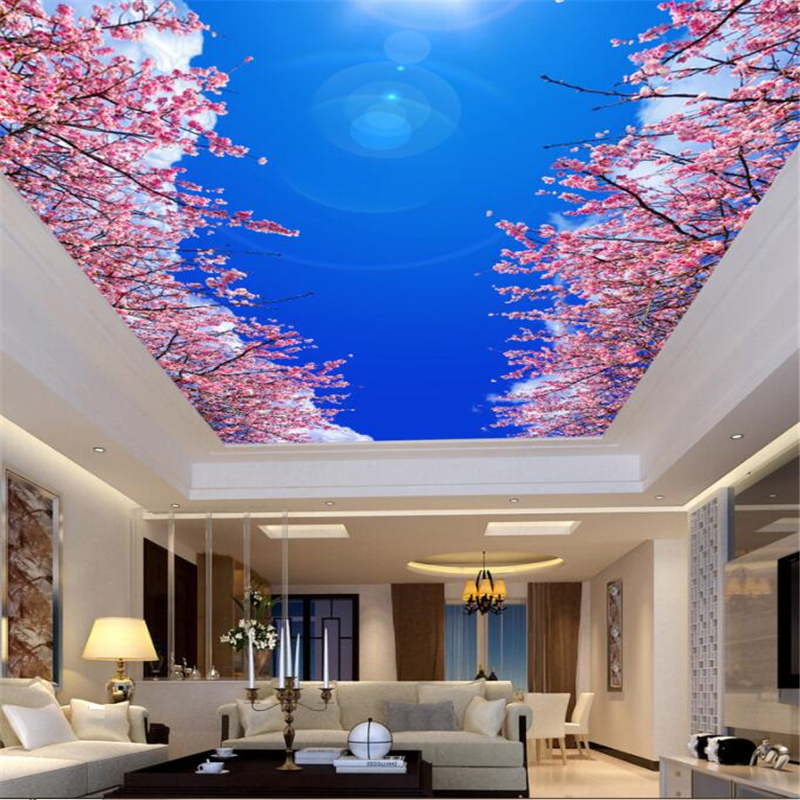 papel de parede Custom modern home background decoration 3D wallpaper Blue sky white clouds cherry ceiling roof mural Beibehangpapel de parede Custom modern home background decoration 3D wallpaper Blue sky white clouds cherry ceiling roof mural Beibehang