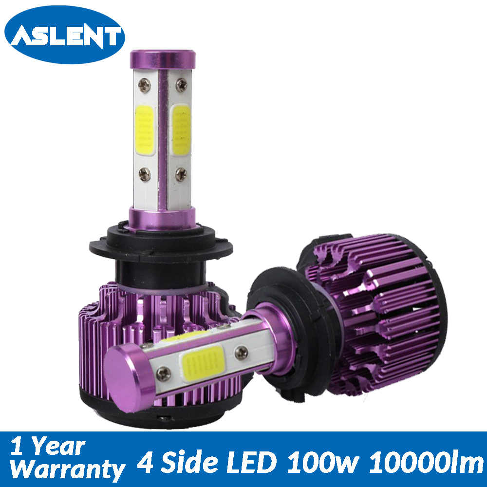 Aslent NEW 4 side Lumens 100W 10000LM H4 H7 Auto led H11 9005 9006 H13 9004 9007 9012 lamp for Cars Headlight Bulb Automobiles