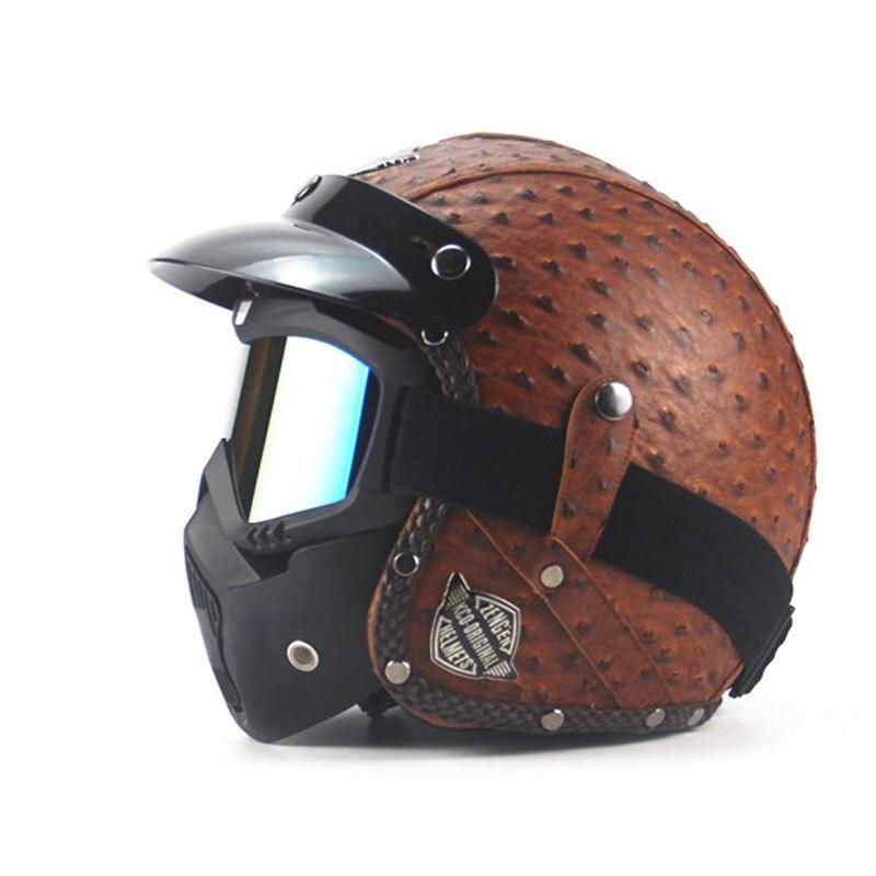 Cuir Harley casques 3/4 moto Chopper vélo rétro casque visage ouvert vintage moto casque avec masque de lunettes motocross