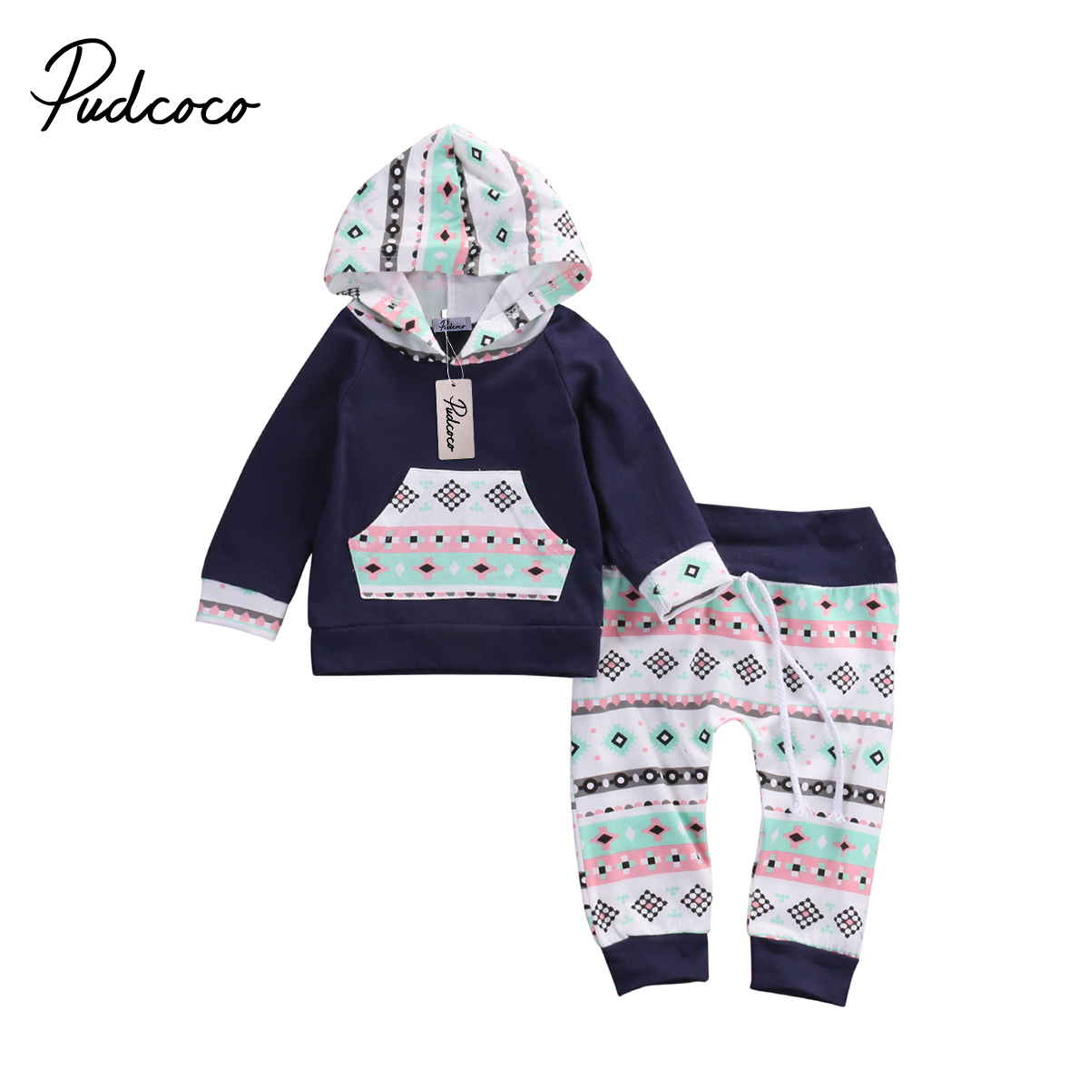 Pudcoco Newborn Toddler Baby Boy Girls Clothes Long Sleeve Hoodie Hoodies +Pants Outfits Set 0-18 Months Helen115