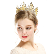 hot deal buy vintage pearl crystal round big tiara crown gold queen women bridal wedding hair jewelry show prom pageant hair accessories gift