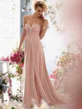 Free Shipping 2014 Spring Wholesale Bridal Dress Sheath Sweetheart Neckline Flowy Chiffon Wedding Gown With Beadings ML004