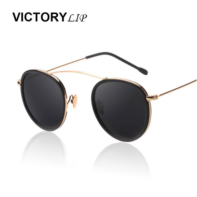 944c152e9dd23 VictoryLip 2016 Rodada Arqueado Única Ponte Quadro Transparente Vitange  Retro Feminino UV400 Óculos de Sol Dos Homens Das Mulheres óculos de Sol  Círculo