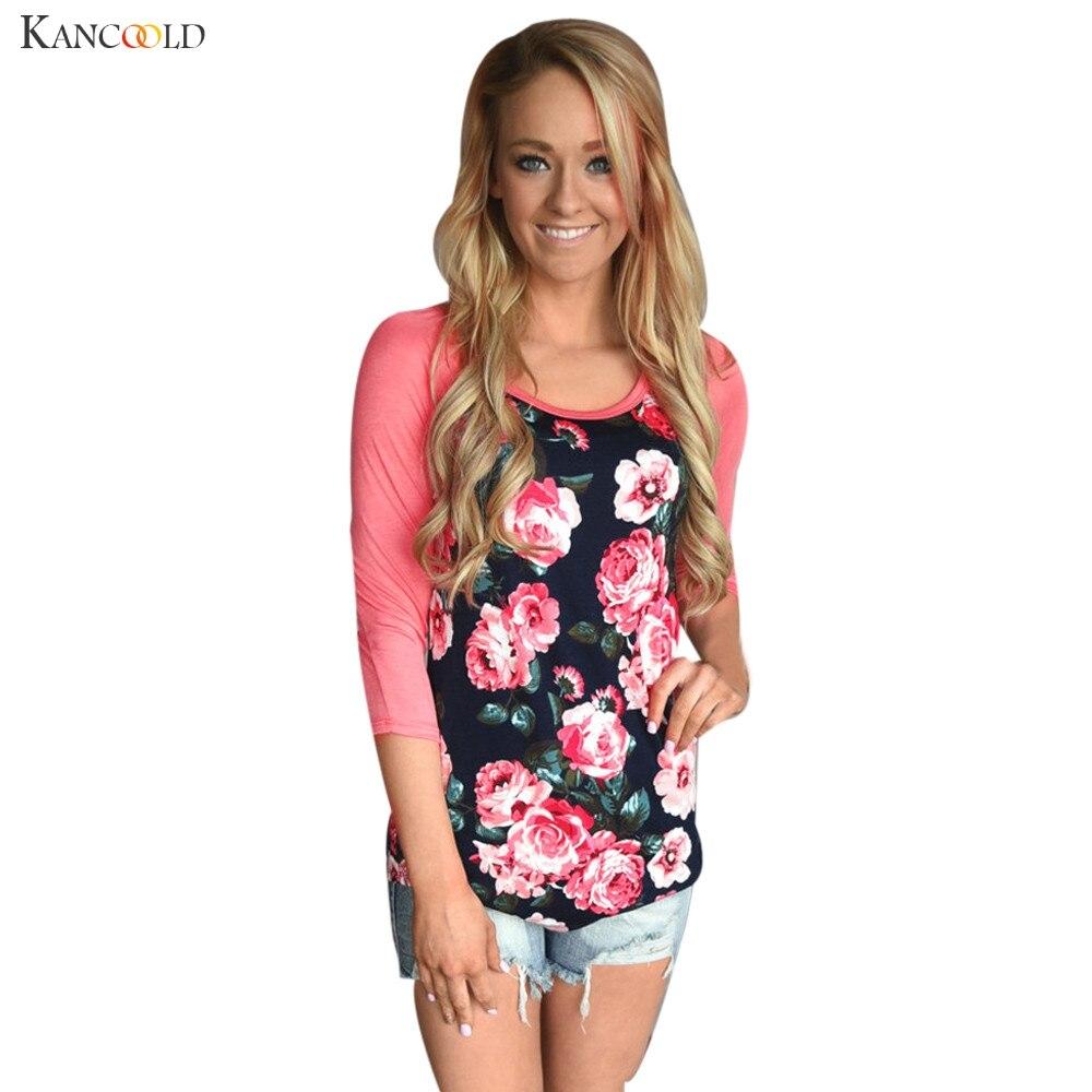 Women T Shirts Raglan Floral Print Cotton T Shirt Fashion