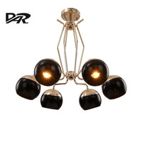 2017 Art Deco 3 6 8 10 Heads Pendant Chandelier Lighting Black Gold Lampshade Post Modern