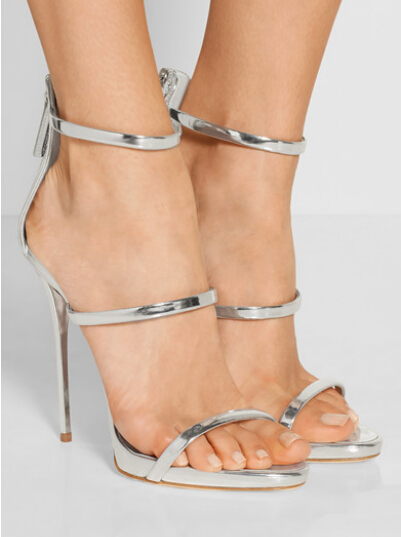 Hot Selling Summer Gold Silver Metallic Leather High Heel Sandal Summer Open toe Woman Ankle Strap