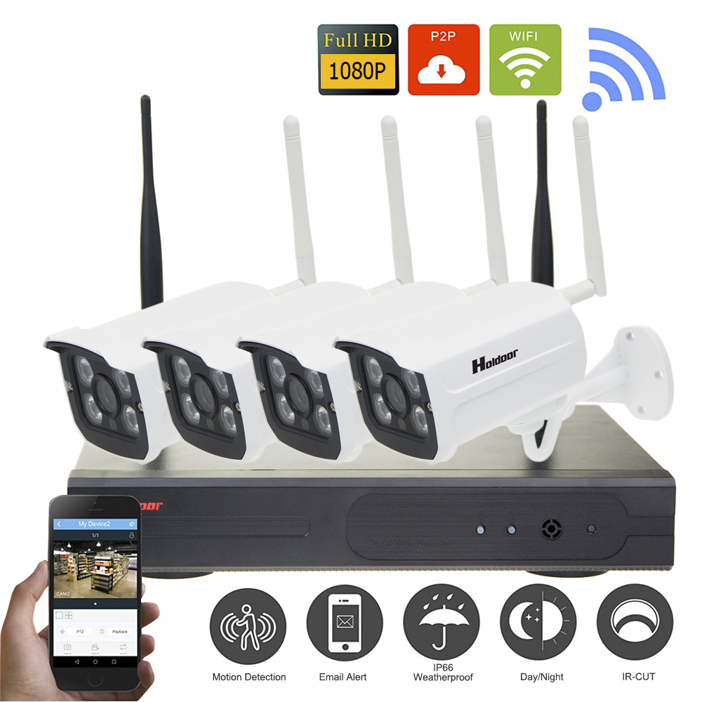 Plug and Play 4CH Wireless NVR Kit P2P 1080P HD Outdoor Waterproof IR Night Vision Security IP Camera WIFI CCTV System цена 2016