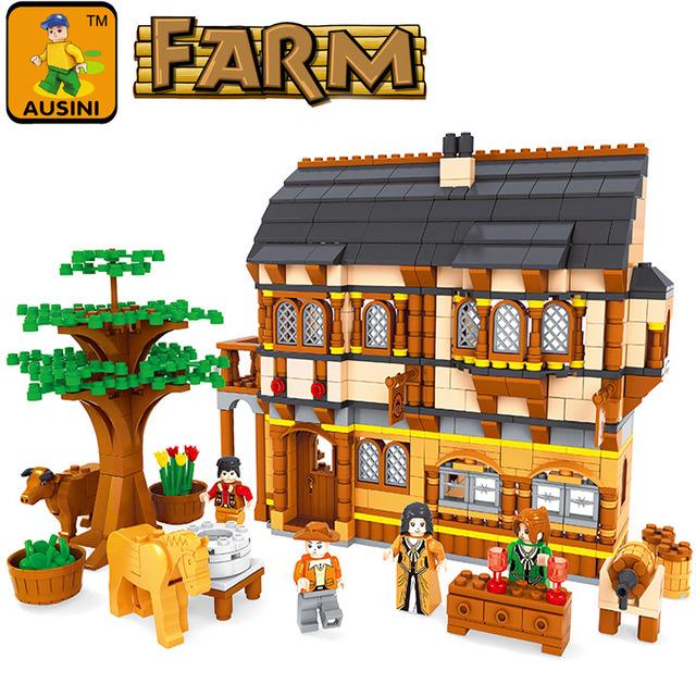 Kits de edificio modelo compatible con lego nueva ciudad granja feliz 3d modelo de construcción bloques educativos juguetes y pasatiempos para niños