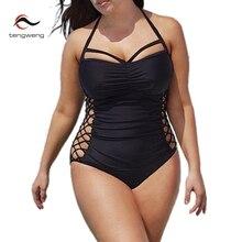 2017 Summer Women Sexy Halter Black Vintage Plus Size One Piece Swimsuit Hollow Out Swimwear Brazilian Bathing Suit Beach Wear