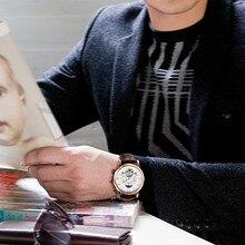 Men Automatic Mechanical Tourbillon Watch Fashion luxury brand Leather Masculino