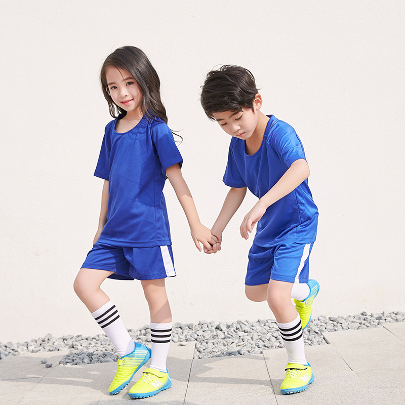 New Boys Girls Football Jersey 6 11T Big Kids School Sports Uniform Quick  dry Children Training Clothes Blue Accept Customize-in Clothing Sets from  Mother ... fb2ca4802