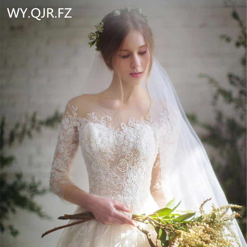 LYG-D15#O-Neck Bride's wedding dress White Ball Gown lace up long wholesale cheap women clothing party prom marry dresses China
