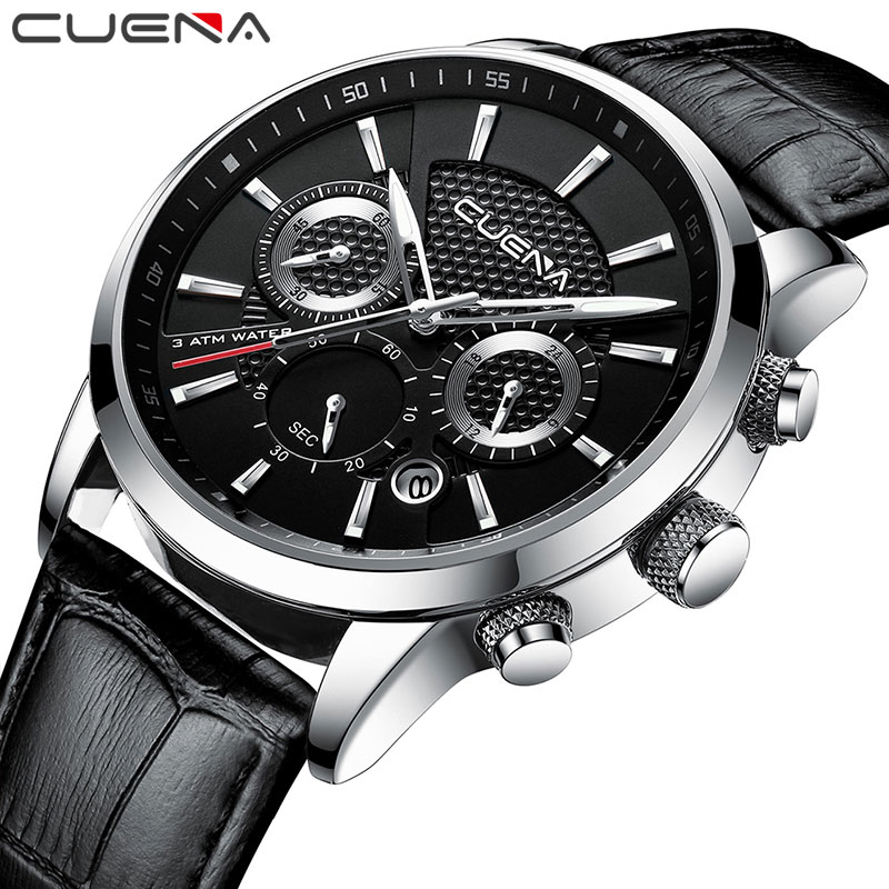CUENA Quartz Watches Men Luxury Brand Stopwatch Date Luminous Hands Genuine Leather 30M Waterproof Male Watch Black Wristwatches genuine jedir quartz male watches genuine leather watches racing men students game run chronograph watch male glow hands