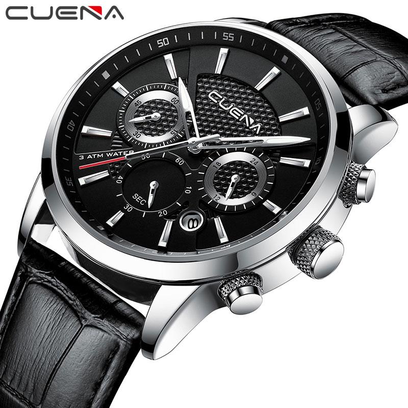 CUENA Quartz Watches Men Luxury Brand Stopwatch Date Luminous Hands Genuine Leather 30M Waterproof Male Watch Black Wristwatches