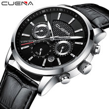 CUENA Quartz Watches Men Luxury Brand Stopwatch Date Luminous Hands Genuine Leather 30M Waterproof Male Watch Black Wristwatches все цены