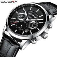 CUENA zegarki kwarcowe mężczyźni luksusowa marka stoper data Luminous Hands prawdziwej skóry 30M wodoodporny zegarek męski czarne zegarki na rękę w Zegarki kwarcowe od Zegarki na