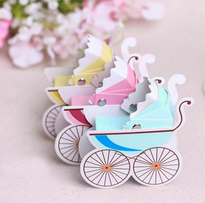 100 pcs new arrival baby shower wheelbarrow shape carriage candy boxes giveaways box gift box sugar