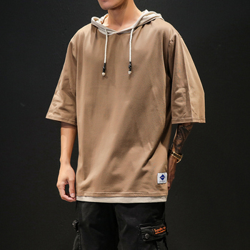 Cotton Half Sleeve T-shirt Men Large Size Solid Color Summer Hooded T-Shirt Male Slim Fit Casual Comfortable Streetwear T shirt 2