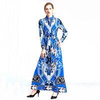 2017 New Autumn Long Maxi Runway Dress Women Long Sleeve Print Beading Casual Full Length Bohemian