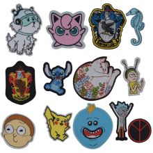 1Pcs New Arrival Pikachu Rick and Morty Animals Cat Patch Embroidered Applique Iron On design DIY Sew Badge