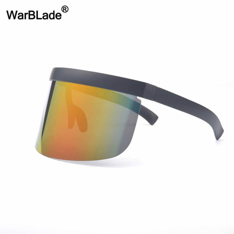 Image 4 - WarBLade New Oversized Shield Visor Sunglasses Women Designer Big Goggle Frame Mirror Sun Glasses Shades Men Windproof Eyewear-in Men's Sunglasses from Apparel Accessories