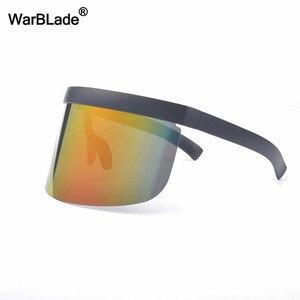Image 4 - WarBLade yeni büyük boy kalkan siperliği güneş gözlüğü kadın tasarımcı büyük gözlüğü çerçeve ayna güneş gözlüğü tonları erkekler rüzgar geçirmez gözlük