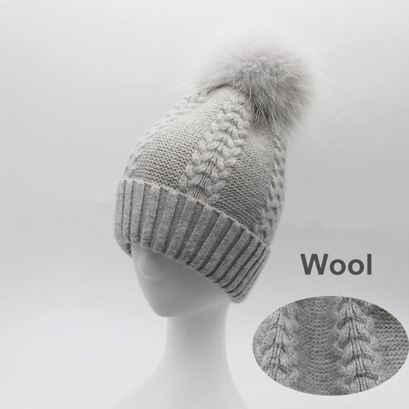 Women Striped Wool Skullies Beanies Hats 15CM Fox Fur Pom Pom Hat Female Winter Warm Caps Fashion Headgear LF4067 skullies