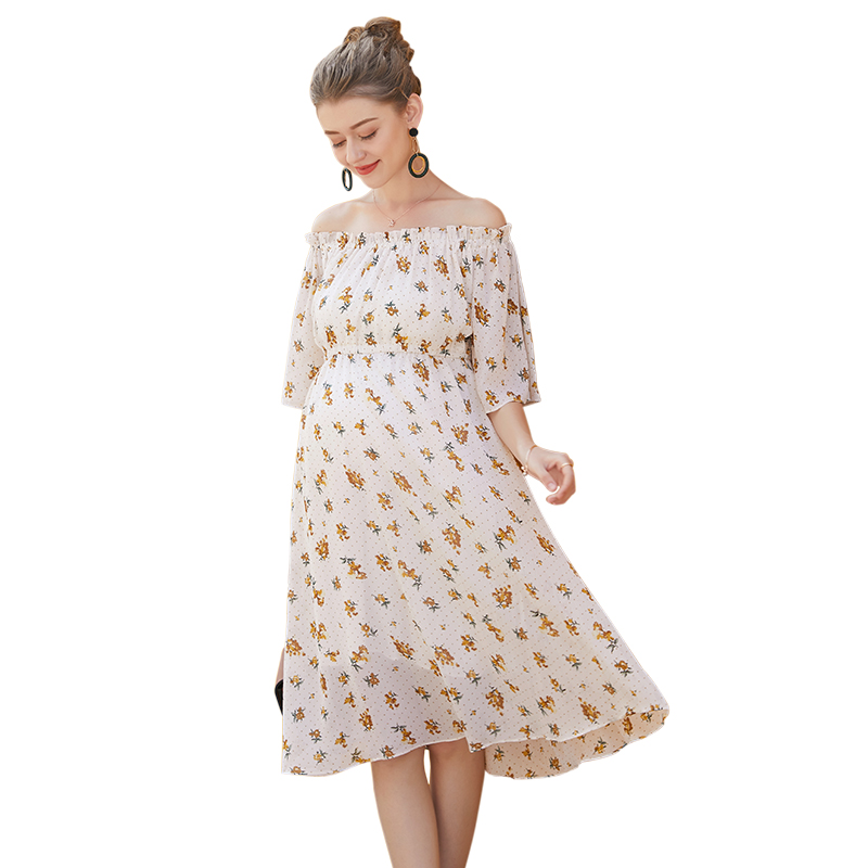Sukienki Na Wesele Damskie Pregnant Women Fashion Sexy Shoulderless Half Sleeve Printing Chiffon Dress Maternity Summer Dresses