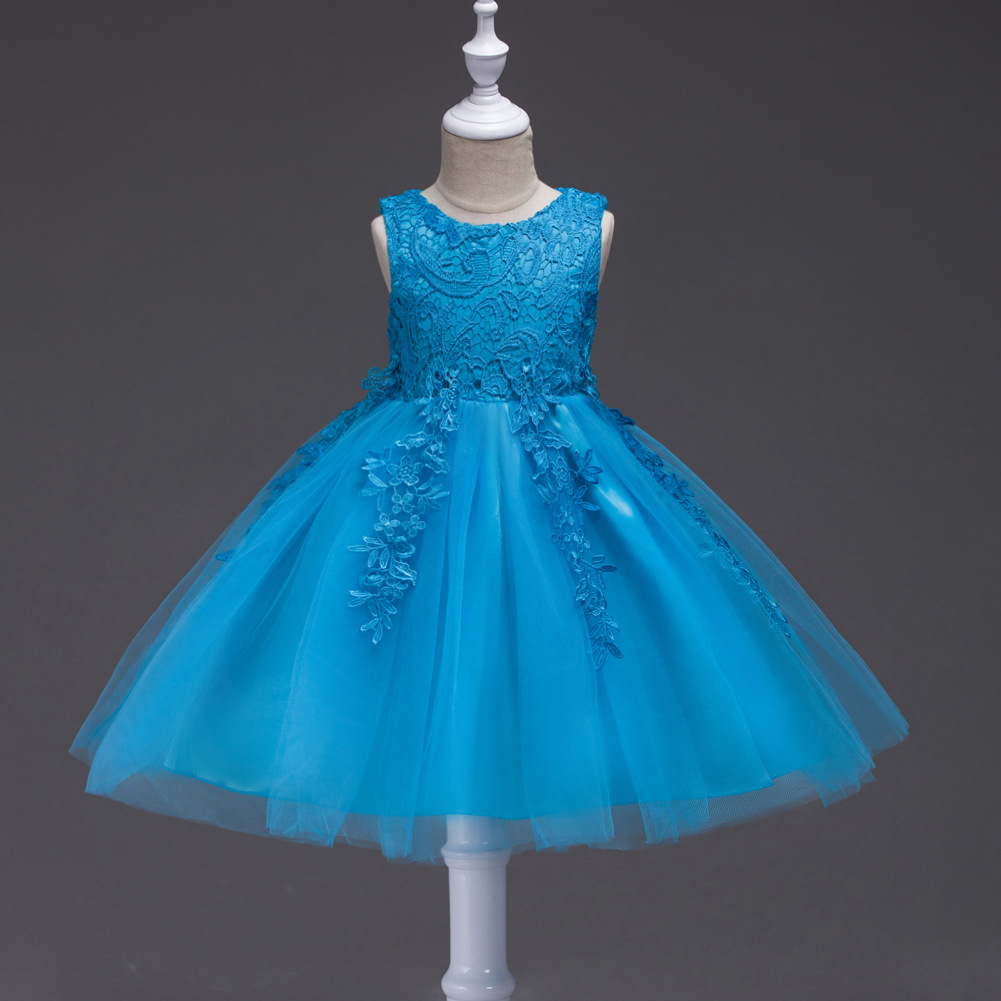 Flower     Girls     Dress   Lace Embroidered Sleeveless Princess Pageant Gown