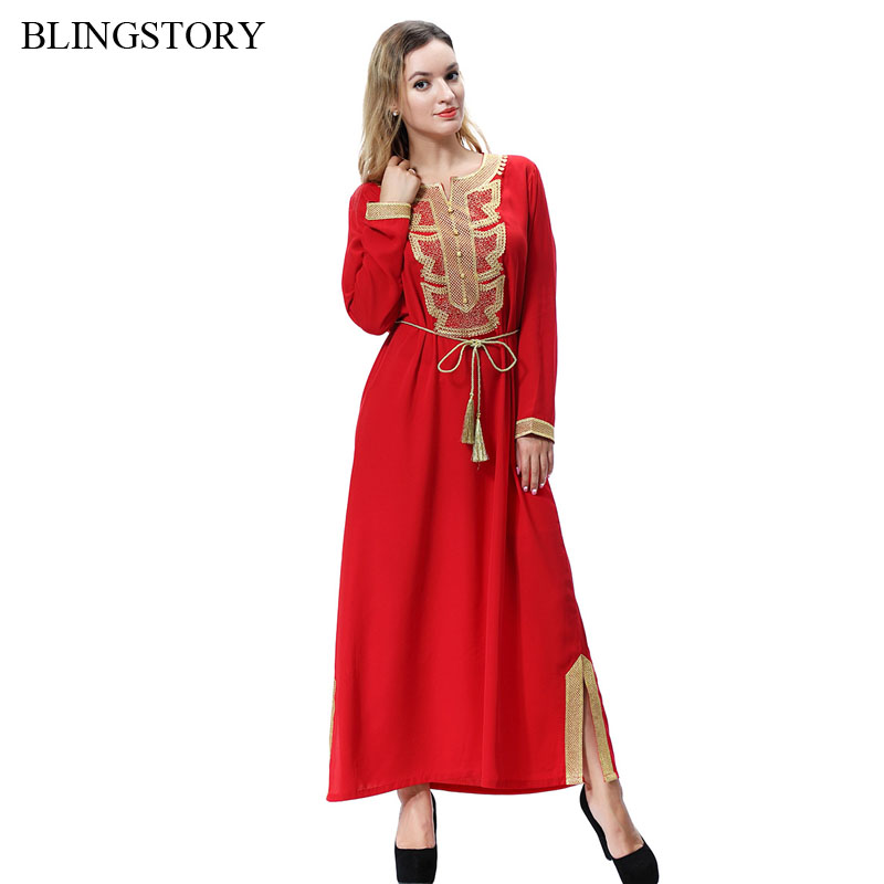BLINGSTORY Middle East Arabia Malaysia Muslim Abaya Long Sleeve Maxi Dubai Embroidery Kaftan Dress with Belt