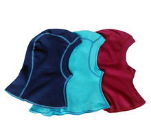 100%merino wool baby kids thermal balaclava face masked hat stripe colors windproof cap for 1-8 years old