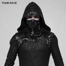 Punk Rave Punk Rock Unisex Black Pu Leather Party Assassin Cospaly Hat Hooded Accessory женский плащ punk rave y552