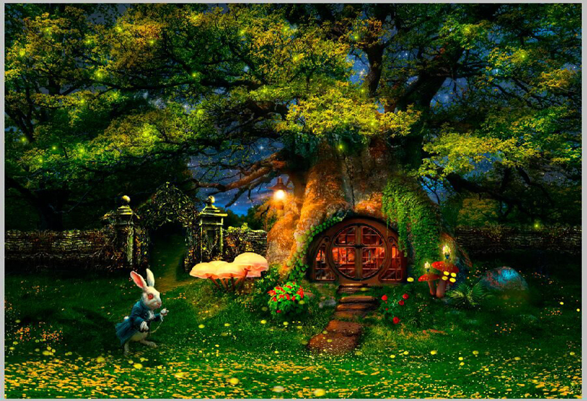 5x7ft alice wonderland white rabbit tree house mushroom green garden custom photo studio. Black Bedroom Furniture Sets. Home Design Ideas