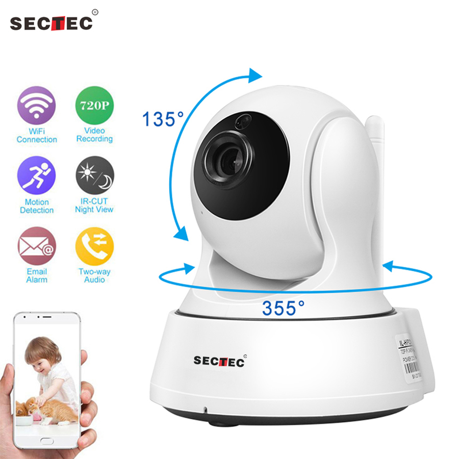 SECTEC 720P Home Security wireless IP Camera Surveillance CCTV Network WiFi Cam Baby Monitor Night Vision Two Way Audio недорого