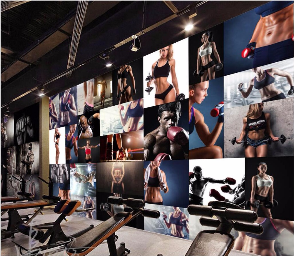 Custom mural 3d wallpaper photo living room gym fitness Living room gym
