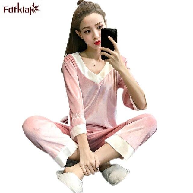 Fdfklak новый золотой бархат пижамы осенне зимняя Дамская обувь пижамный  комплект с длинным рукавом Пижама с 285eb6a06b667
