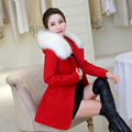 2016 женщин средней длины плюс размер пальто шерсти верхняя одежда осень и зима большой меховой воротник утолщение зимнее пальто женская одежда